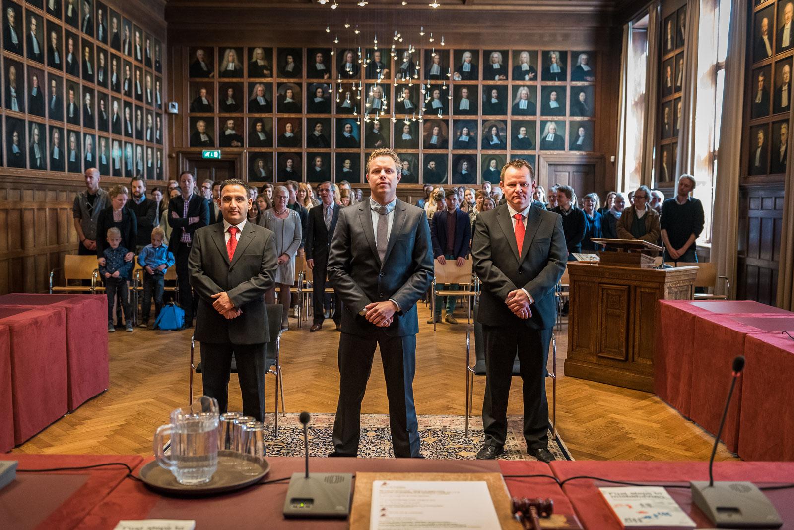 Promotie promovendus wordt toegesproken Acamdemiegebouw Universiteit Utrecht
